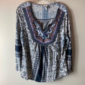 Anthro Akemi + Kin Navy Print Embroidered Blouse